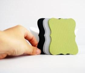 18 Bracket cards in Olive green, Black and grey Cardstock (3.5 x 2.5 inches) die cuts A81