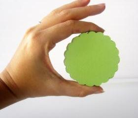 32 Scalloped Circles (2.5 inches) in Lime Green Paper Textured Cardstock Die Cut A117