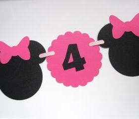 Minnie Mouse I am 1 Birthday Banner A101