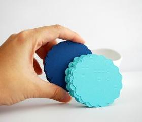 32 scalloped die cut circles (2.5 inches) in Aqua Blue and Navy Blue Textured Cardstock Die Cut A88
