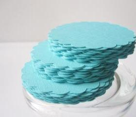 24 Scalloped Circles (3.0 Inches) in Teal paper Textured Cardstock A38