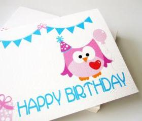 Owl birthday card , Pink owl Birthday card A51
