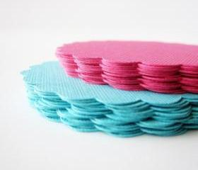 32 Scalloped Circles (2.5 inches) in Teal and Hot Pink paper Textured Cardstock A138