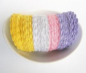 48 Easter pastel scalloped Circles (2.5 inches) in baby yellow, white, pink and purple die cut A136