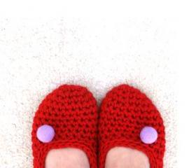 Red Crochet Slippers with Lavender Felt PomPom