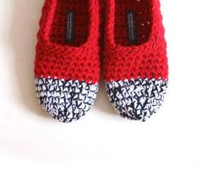 Crochet Slippers in Red, Black & White