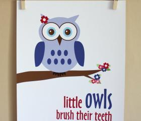 Little Owls Brush Their Teeth, 8x10 - GIRL