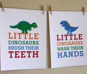 Little Dinosaurs Wash Hands and Brush Teeth, Two 8x10 Prints
