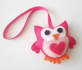 Hot Pink Owl Car Mirror Ornament for your car mirror A150