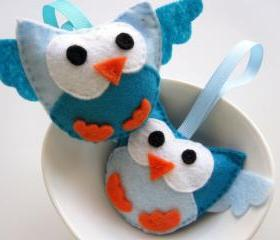 2 mini felt owls perfect stocking stuffer Felt Owls A151