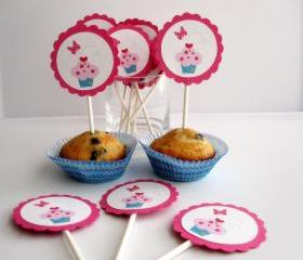 12 Valentine Day Cupcake and butterfly Cupcake toppers , adorable pink and hot pink Cupcake A29