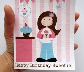 Happy Birthday Sweetie Card, Cute Doll Card for Girls, toddler or any age girls A56