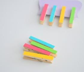 Set of 4 mini clothespins in hot pink, yellow, aqua and green A119