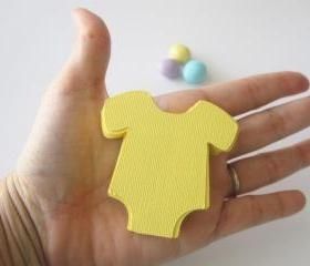 50 Baby Yellow Onesie Die Cut for scrapbooking Textured Cardstock A20
