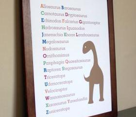 Nursery Art Dinosaur Alphabet, 11x14 