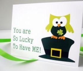 Patrick's day card, Lucky you Green Patrick Owl Card A121