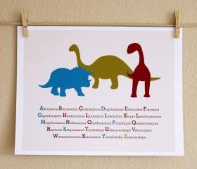 Three Dinosaurs ABCs, 8x10 