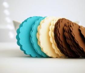48 Scalloped Circles (2.5 inches) in Aqua, beige and Brown textured Cardstock Die Cut A80