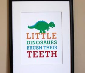 Little Dinosaurs Brush Their Teeth, 8x10