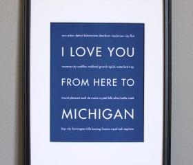 Michigan art print, 8x10