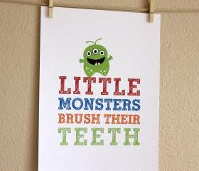 Little Monsters Brush Their Teeth, 8x10 - BOY