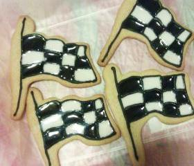 One Dozen Decorated Checkered Flag Cookies