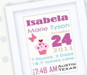 custom announcement, Pink Cupcake Birth Announcement Print for Nursery A154