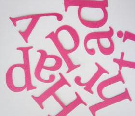 Happy birthday, Hot pink die cut letters for Banner (3.5 inches tall) Textured Cardstock A238