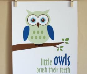 Little Owls Brush Their Teeth, 8x10 - BOY