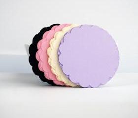 36 Scalloped circles (3.5 Inches) in Light Purple, Beige, Light Pink and Black Textured Cardstock A67