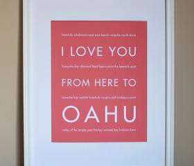Oahu art print, 8x10