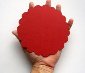16 Scalloped circles (5.0 inches) for banner in Red paper Textured Cardstock A100