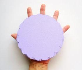16 Light Purple (5.0 inches) Scalloped Circles inTextured Cardstock A69