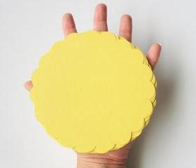 16 Big (5 inches) Scalloped Circles in Baby Yellow Textured Cardstock A102