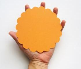 16 Orange (5.0 inches) Scalloped Circles in Textured Cardstock A103