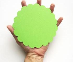 16 Lime Green 5.0 inches Scalloped Circles in Textured Cardstock A97