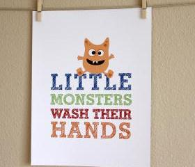 Little Monsters Wash Their Hands art print, 8x10, BOY
