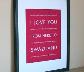 Swaziland Africa Travel Art Print, 8x10