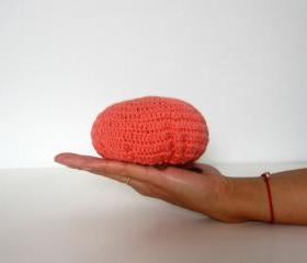 Foldable market bag, net bag, shopping bag, crochet, ecofriendly. Coral pink and moss green cotton yarn.