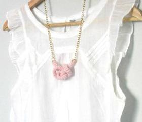 Bonds, crochet knot necklace. Nautical knot. Baby pink cotton yarn