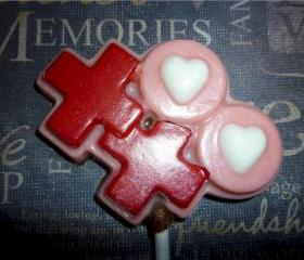 Valentine Hugs and Kisses Chocolate Lollipops Order for 6