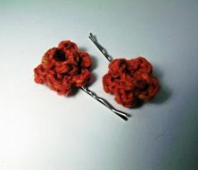 Red Rose Bobby Pins, crochet wool