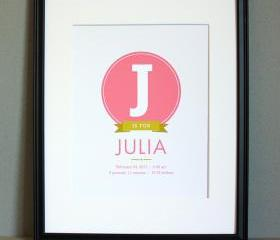 Baby Birth Announcement Art Print, 8x10