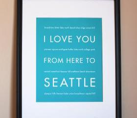 Seattle Art Print, 8x10