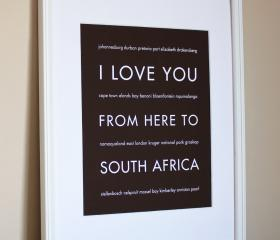 South Africa art print, 8x10