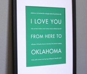 Oklahoma Art Print, 8x10