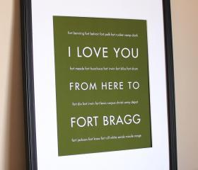 Fort Bragg US Army Military Art Print, 8x10 