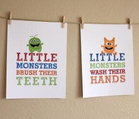 Little Monsters Bathroom Art Prints, Two 8x10 Prints