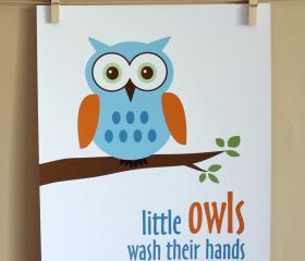 Little Owls Wash Their Hands, 8x10 - BOY