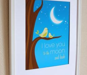 I Love You to the Moon and Back with Green Birds Nursery Art Print, 8x10